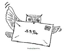 Harry Potter Unit Worksheet: Owl Post Coloring Page
