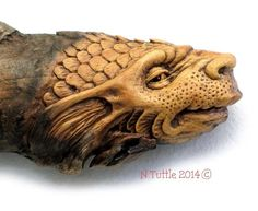 ORIGINAL SERPENT WOOD SPIRIT CARVING DRAGON FISH BOTTOM FEEDER OOAK NANCY TUTTLE in Sculpture & Carvings | eBay