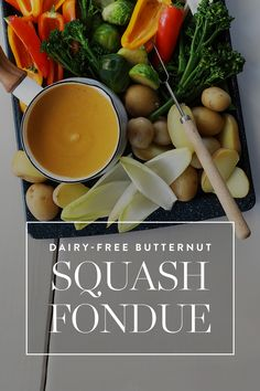 """Why should cheese eaters have all the fun? Our recipe for butternut squash """"fondue""""  is just as smooth, tangy and dippable as the cheesy version (oh, and it's about a billion times healthier). — via @PureWow"""