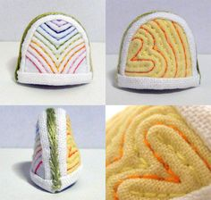 This item is one of Korea traditional thimble - Colorful Thread Nubi Thimble. Nubi is Korean for 'Quilt'. It's made of cloth but it's very hard. Because I quilted with solid and thin straps between stitches.  Needle head never prick your finger. It will protect your fingers from needle.  http://www.etsy.com/shop/rimkimstudio
