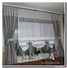Curtains With Blinds, Valance, Modern Kitchen Curtains, Roman Shades, Drapery, Ideas Para, New Homes, Shabby Chic, Fabric