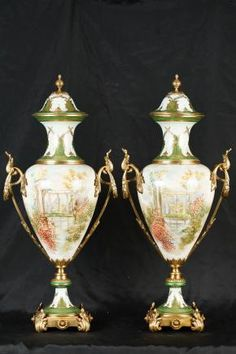 Pair Sevres Porcelain Vases Urns Pottery Paris French