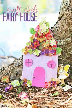 Craft Stick Fairy House - Kid Craft Idea
