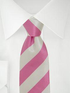 Stropdas 7 fold duo roze/wit
