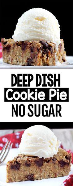 Secretly Healthy Chocolate Chip Cookie Pie (Sugar Free, Vegan)