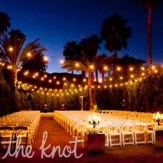 The Evening Ceremony Was Lit With Bistro Lights Hung Overhead Riviera Palmsprings Wedding