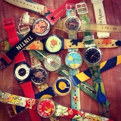 RT if you have a Swatch watch collection. Source by swatchus Fossil Watches, Cool Watches, Vintage Swatch Watch, Photo A Day Challenge, 90s Childhood, 80s Kids, Color Splash, Retro Fashion, Cool Stuff