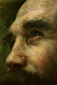 """Self-Portrait"" - Cesar Santos (b. 1982), oil on linen {contemporary renaissance artist male head bearded man face profile texture painting detail #loveart} santocesar.com"