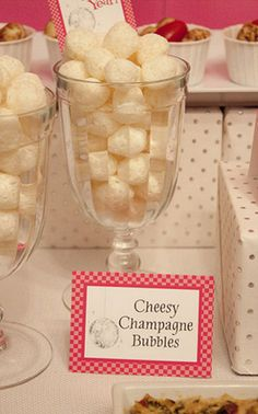 White cheddar cheese balls as champagne bubbles for New Year's Eve celebration.