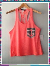 Racer tank w/ laced back-Aztec printed pocket anchor