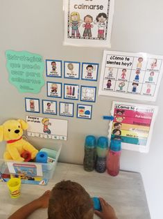 Calm down corner in Spanish. Centers and paperwork you need to make a take a break or calm down corner in your Spanish immersion or bilingual classroom. Bilingual Classroom, Spanish Classroom, Preschool Classroom, Teaching Spanish, Kindergarten, Classroom Ideas, Sign Out Sheet, Calm Down Corner, Dealing With Anger