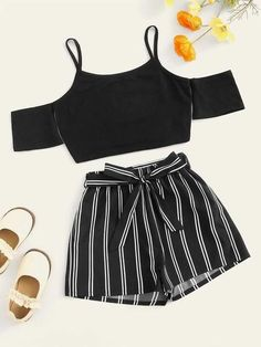 Girls Cold Shoulder Cami Top & Vertical-stripe Shorts Set Check out this Girls Cold Shoulder Cami Top & Vertical-stripe Shorts Set on Shein and explore more to meet your fashion needs! Teenage Girl Outfits, Crop Top Outfits, Kids Outfits Girls, Girls Fashion Clothes, Cute Outfits For Kids, Teen Fashion Outfits, Cute Casual Outfits, Short Outfits, Pretty Outfits