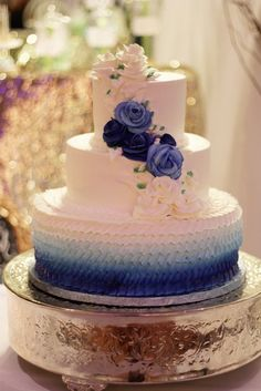 Gorgeous blue ruffle ombre cake!  See more party ideas at CatchMyParty.com!
