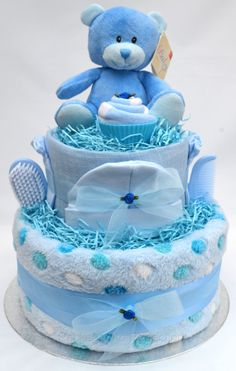 Boys Blue Luxury 2 Tier Nappy Cake by Packaged2Perfection on Etsy, £34.99