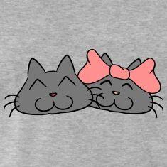 Lieve schattige katten paar koppels liefde T-shirts