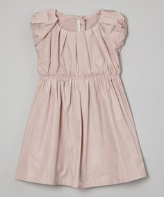 Look what I found on #zulily! Peach Pleated Puff-Sleeve Dress - Infant, Toddler & Girls #zulilyfinds