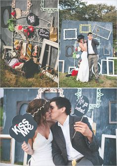 The photo booth idea is so great with all the different frames...