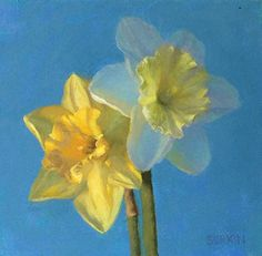 "Daffodil Duo by Laurie Sorkin Oil ~ 8"" x 8"""