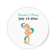 Seahorse emerald, coral wedding Save the Date Round Stickers