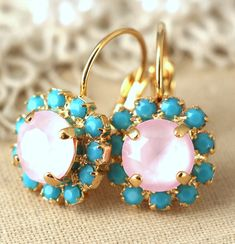 Turquoise Pink earrings Pink Powder Turquoise Drop earrings Swarovski earrings Swarovski earrings Bridesmaids gifts gift for her Powder Pink  IF YOU WANT THE BEST CHOSE THE ORIGINAL Arrives in our signature Petite Delights by Ilona Rubin® Box. Sent By Registered Insured mail. Petite Delights is an Official SWAROVSKI® Branding Partner Official Swarovski Elements® Partner Made with real genuine high quality Austrian Swarovski ©Crystal . Our brand is legally licensed & authorized By Swarovsk...