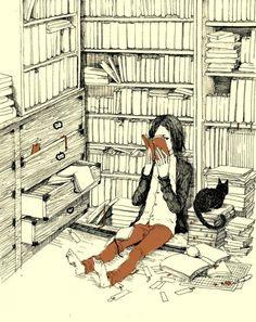 girl book cat