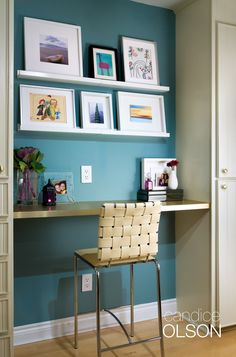 ARTIST'S STUDIO: Small space + bold color = a dramatic backdrop and a fun place for homework. #candiceolson #homeoffice