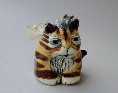 Tiger Cat Ornament Handmade Ceramic от FlowerandPearlStudio, $38.00
