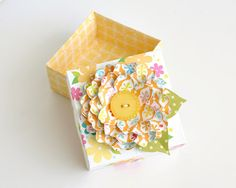 Whimsical Handmade Paper Flower Decorated Origami Gift Box