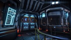 Science Fiction Scene, Simon Fuchs on ArtStation at… Spaceship Interior, Futuristic Interior, Futuristic Art, Sci Fi Environment, Environment Design, Science Fiction, Modelos 3d, Cyberpunk Art, Rpg