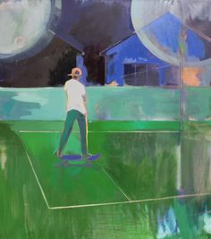 "Skate by Charlotte Evans - Oil on canvas - 30"" x 34"" - For questions or prices please contact us at info@igifa.com"