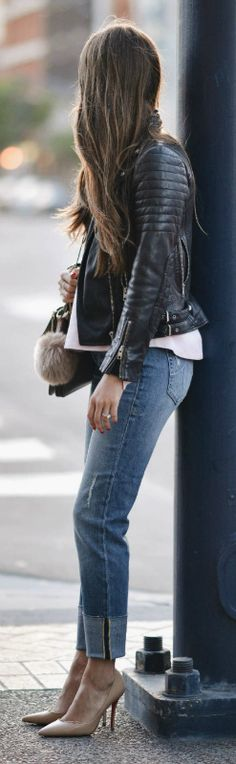 leather jacket + heels + sexy yet sophisticated look + Paola Alberdi + denim jeans rolled at the ankle + nude heels + white blouse + classic biker jacket.   Jacket: All Saints, Jeans: Zappos.