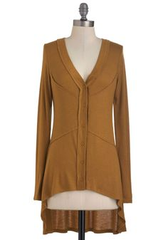 Butterscotch Topping Cardigan - Brown, Solid, Buttons, Casual, Long Sleeve, High-Low Hem, Mid-length, Top Rated