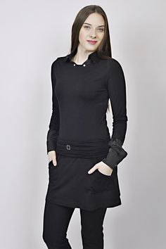 black tunic, business look, all black outfit, tunic, managemnt, reception, uniform Business Look, Black Tunic, All Black Outfit, Reception, Management, High Neck Dress, Outfits, Dresses, Design