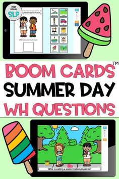 This no-print BOOM Cards™️ adapted book is perfect for both in person learning and distance learning/tele-therapy! This speech and language resource includes a 10-page adapted book targeting answering simple wh questions (what, where, who). On each page, students drag the correct answer to the question into the blank square below the question. This resources also includes 10 additional activity pages that reinforce answering wh questions within a summer scene. Speech Therapy Activities, Language Activities, Wh Questions, Interactive Activities, Language Development, Learning Resources, Speech And Language, Summer Activities, Sentence Strips