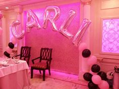 Balloon name arch for sweet 16