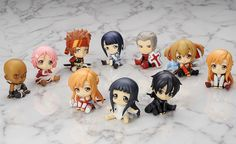 "Now all the characters of Sword Art Online are as adorable as Yui! Introducing SAO ""Petanko Mini!"" trading figures! This 10-figure lineup includes Kirito, Asuna, Asuna: Starting Equipment Ver., Yui, Silica, Lizbeth, Sachi, Agil, Klein, and Heathcliff. The characters have all been molded into adorable chibi figures that are sitting cutely on their bums! Nevertheless, the figures still express the u..."