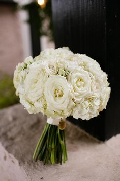 Beautiful white rose bridal bouquet by The French Bouquet. Photo by Amanda Watson Photography. #wedding #bouquet #white #rose