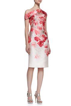 Lela Rose-Lela Rose Women's Floral Off-Shoulder Sheath Dress - Peony