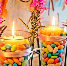 Vaso de vela com amêndoa colorida
