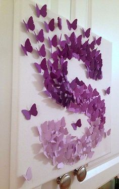 Butterfly Wall Art Purple Ombre Alphabet Letter S Nursery Baby Girl Bring Your Home To Life With This Canvas As Diy