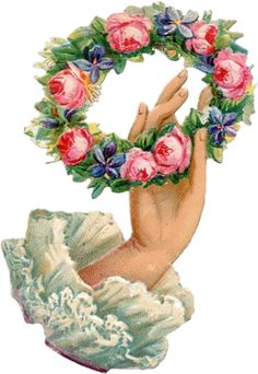 rose and violets wreath