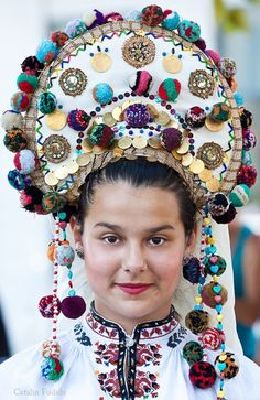 Woman in traditional attire from Bulgaria