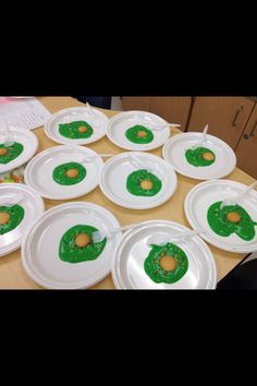 Got this idea from Pinterest buy it came out so cute for Dr. Suess Day! Green Eggs- Pudding with green food coloring, vanilla wafer for yoke & sprinkles for color & fun! -A. Anicola<3