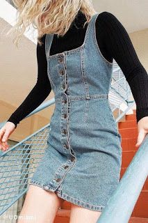 UO Button-Down Denim Mini Dress Urban Outfitters Button-Down Denim Min. - UO Button-Down Denim Mini Dress Urban Outfitters Button-Down Denim Mini Dress Source by thingslabwork - Mode Outfits, Casual Outfits, Fashion Outfits, 90s Fashion Overalls, Fashion Clothes, Fashion Advice, Women's 90s Outfits, Dress Fashion, Denim Overalls Outfit