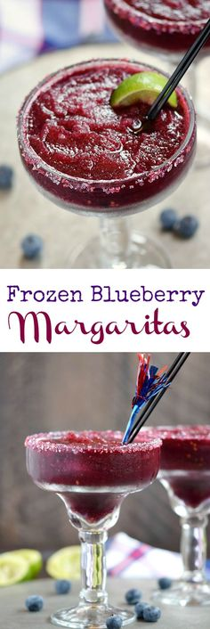 You can be festive and patriotic all summer long with these delicious Frozen Blueberry Margaritas | cookingwithcurls.com #cocktailrecipes