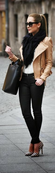 .: Shoes, Black Scarves, Fall Fashions, Fall Wint, Style, Clothing, Fall Outfits, Fallfashion, Leather Jackets