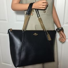 "New Coach AVa Tote black Zip-Top Closure Double Leather and Chain Handles Inside Zip, Cell Phone, and Multi-Function Pockets 16 3/4"" Long  9 3/4"" Tall  5"" Wide 9"" Handle Strap Drop Coach Bags Totes"