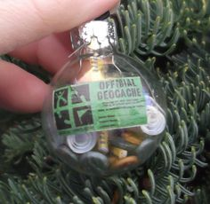 Geocache in a Ball  Christmas Ornament  Cold Hard by Pixadoodles, $15.00