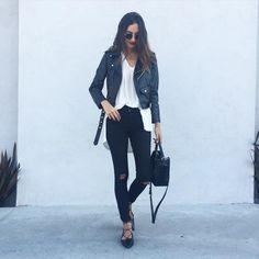 """Basics ➰ // @jcrew @zara leather jacket. #black_instinct #zara_daily"""
