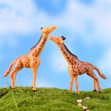 Hot 2 pc Girafa Veados Artesanato Jardim de Fadas Miniaturas Casa Micro Paisagem Decoração DIY Casa de Boneca Decoração(China (Mainland))